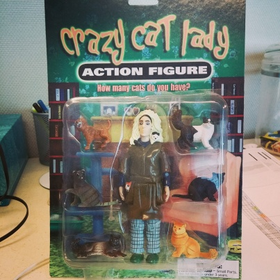 "A literal ""Crazy Cat Lady"" action figure, given to my by the hubs"