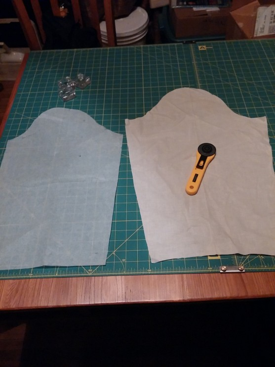 Original sleeve tracing on the left, present sleeve iteration on the right