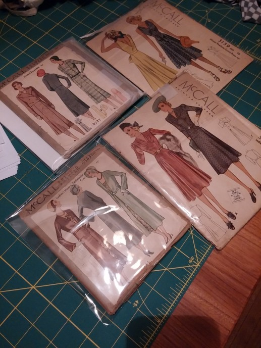Gorgeous patterns, including 2 with coats/jackets and one 1939 wrap dress!