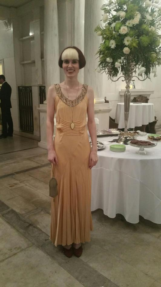 20's silk gown, early 1900's ivory pendant, and 1920's (or earlier) metal mesh handbag!